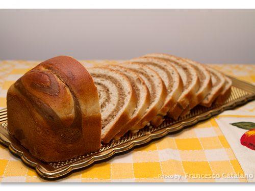 Pan brioche a spirale, bicolore al caffè