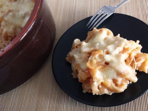 Pasta e patate con la provola, gratinata in forno