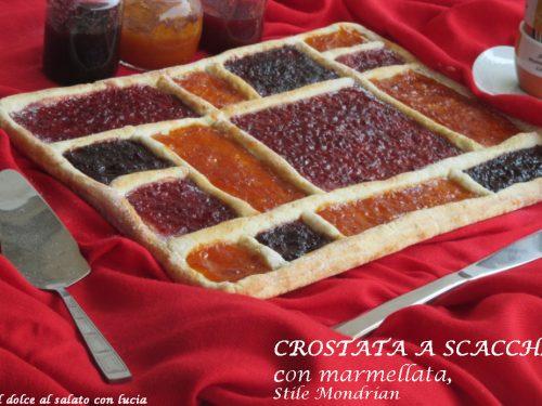Crostata a scacchi con marmellata stile Mondrian