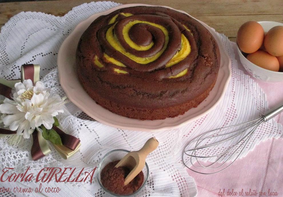 Torta girella con crema al cocco