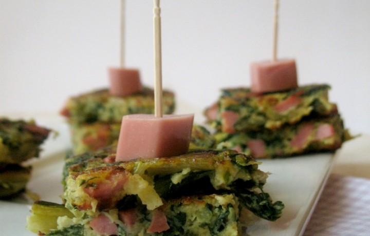 Frittata di spinaci e wurstel