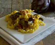 Carbonara con pancetta e carciofi