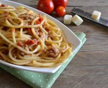 Spaghetti tonno e pesto di zucchine