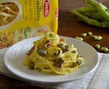 Tagliatelle con fave e pancetta