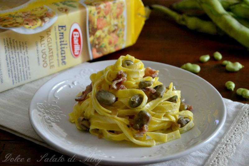 ricetta Tagliatelle con fave e pancetta  Dolce e Salato di Miky