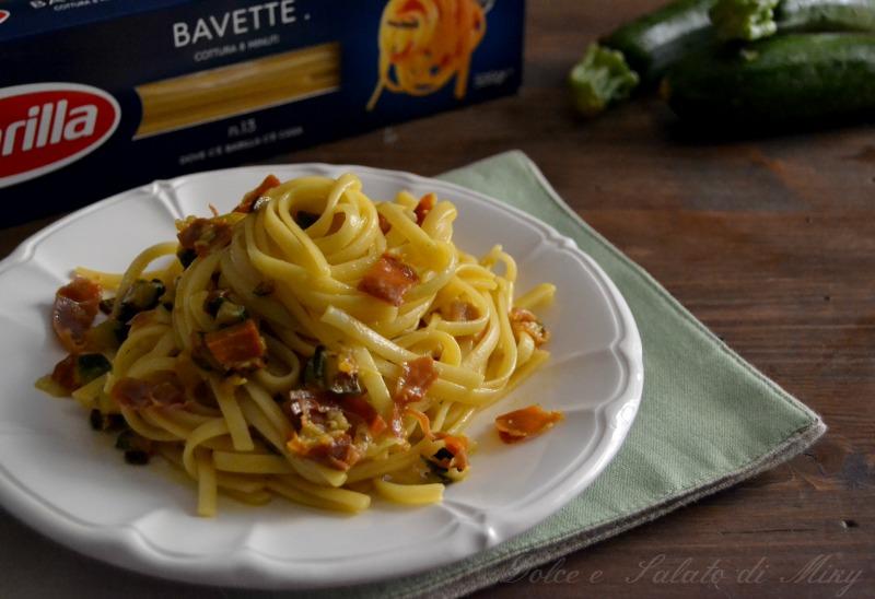 ricetta bavette zafferano speck e zucchine  Dolce e Salato di Miky