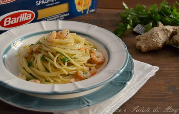 Spaghetti con gamberetti e zenzero