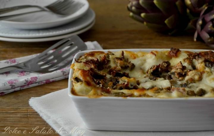 Lasagne con speck e carciofi