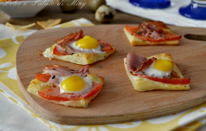 Sfogliette con uova e bacon