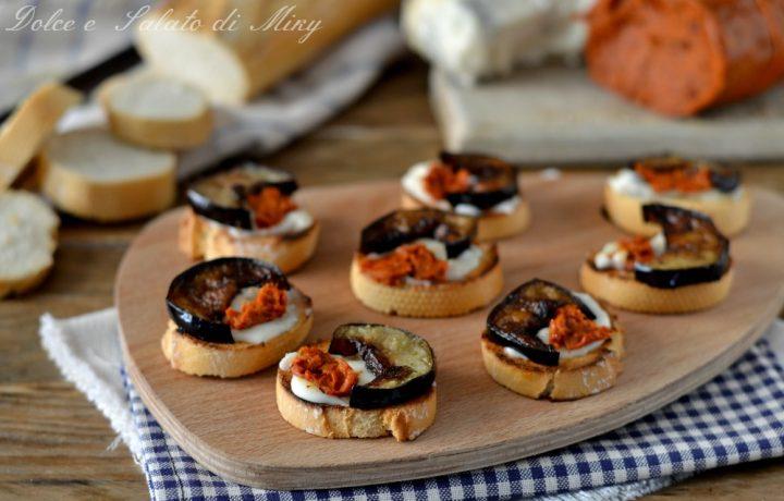 Crostini con nduja e gorgonzola
