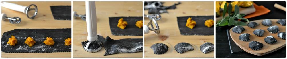 Ravioli di zucca al carbone vegetale