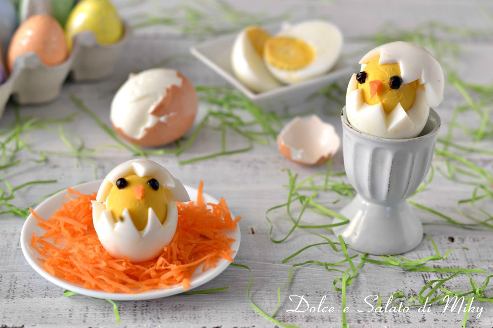 Uova sode a forma di pulcino