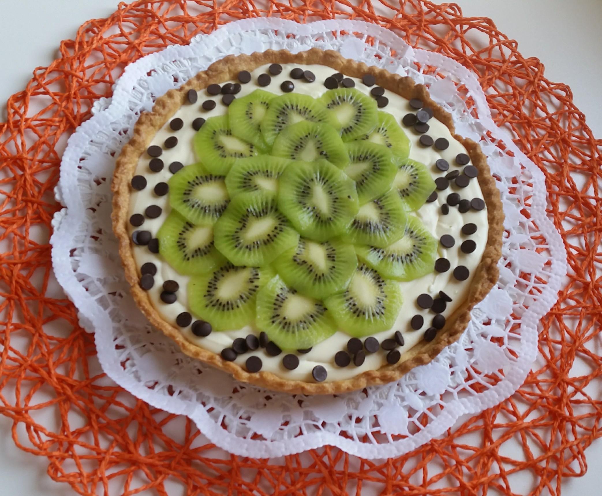 Crostata con kiwi e ganache bianca