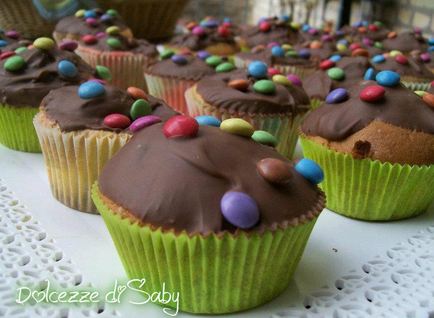 muffins arcobaleno con cioccolato