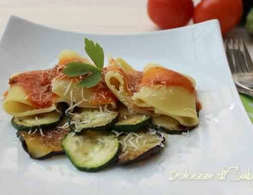 Paccheri su letto di verdure