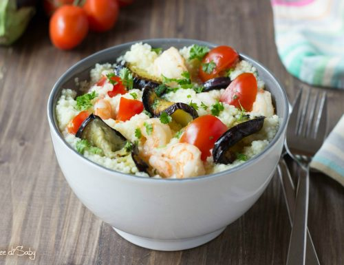 Cous cous melanzane e gamberetti (insalata)