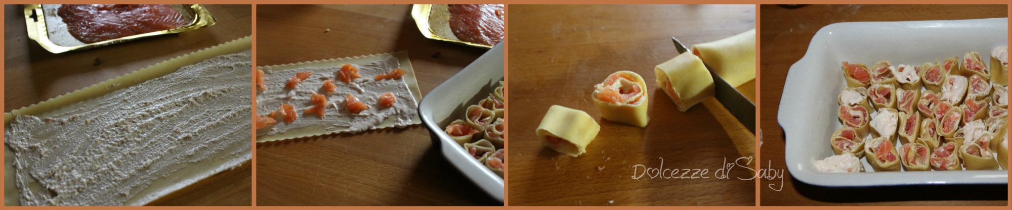 rotolini di pasta al salmone