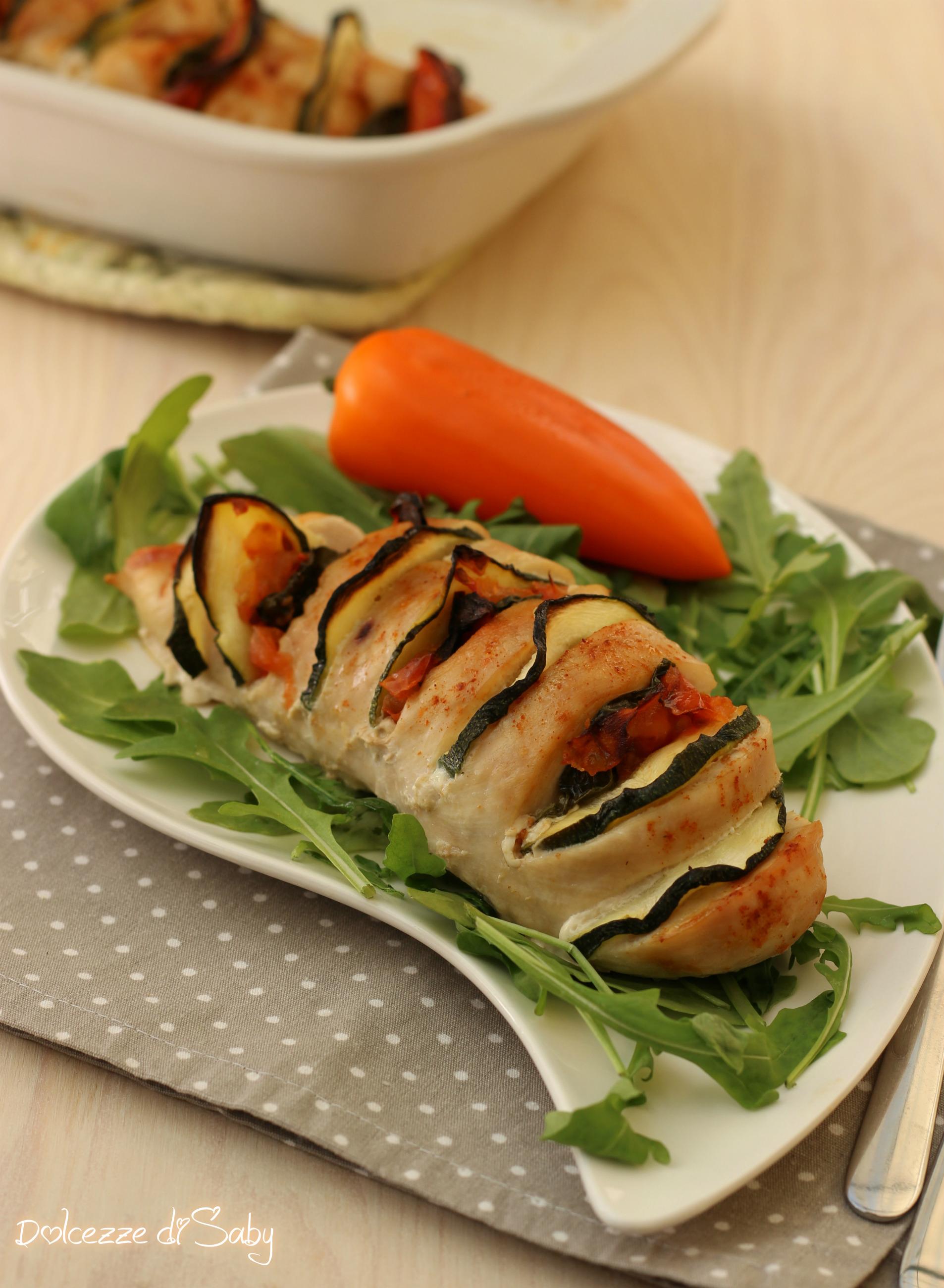 pollo farcito con verdure
