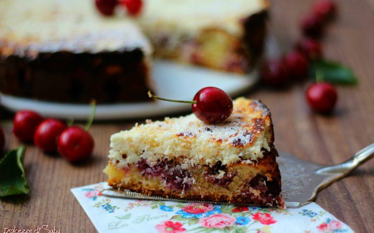 Torta morbida ciliegie e cocco