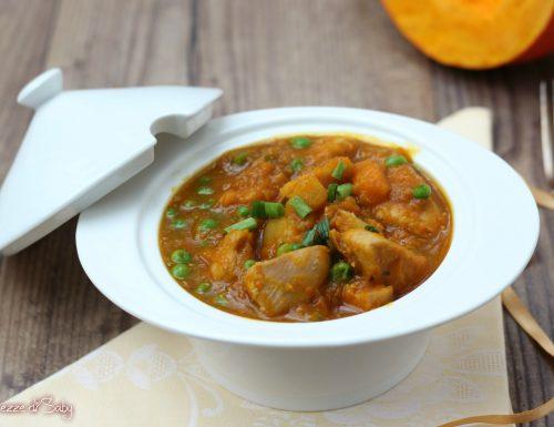 Spezzatino di pollo e zucca con piselli e patate