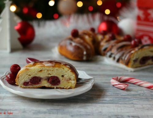 Panbrioche crema e ciliegie sciroppate  (candy cane cake)