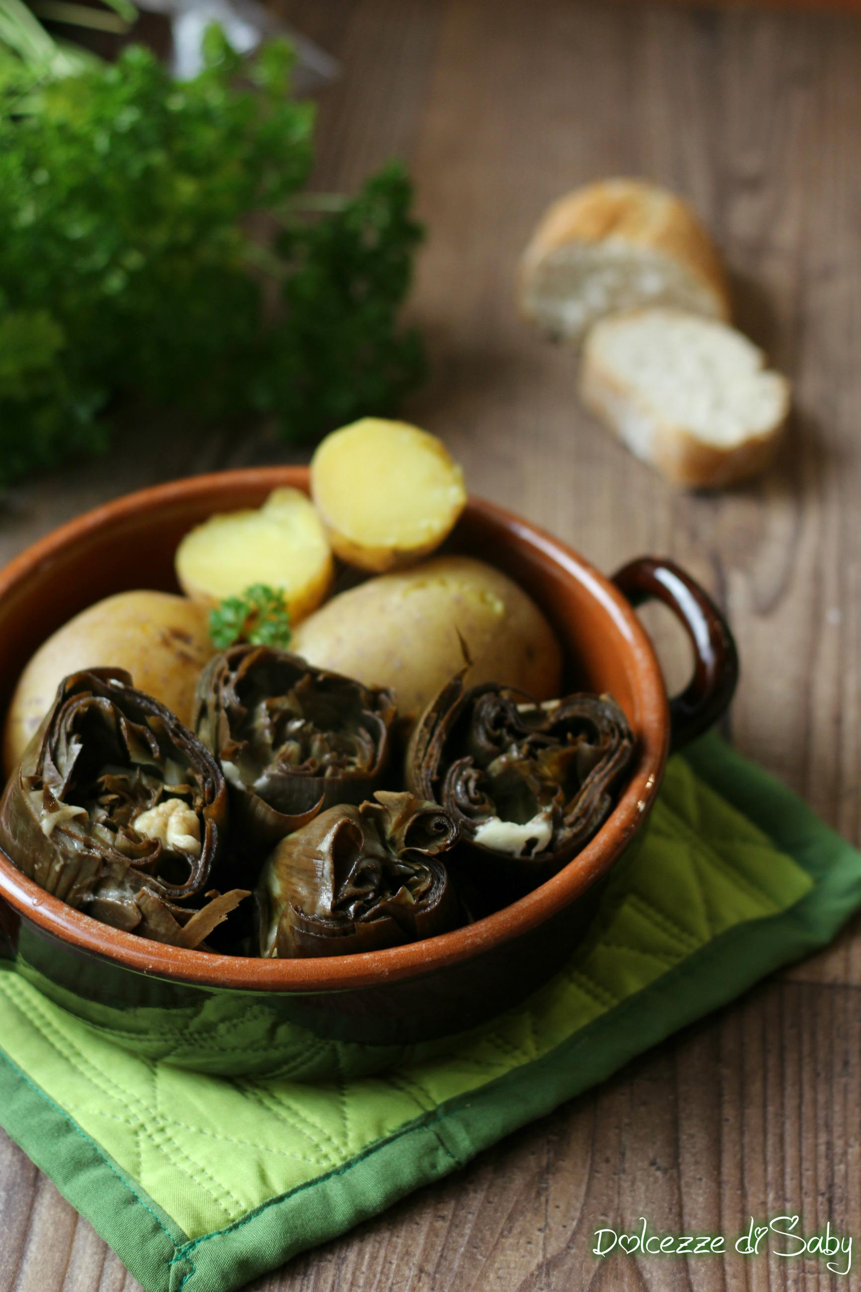 Carciofi ripieni al vapore con patate con e senza mcp o bimby - Cucinare al vapore ...