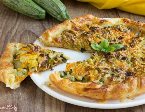 Torta salata di zucchine e fiori di zucca