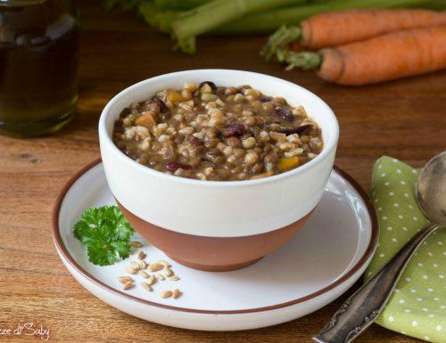 Zuppa di farro con lenticchie e fagioli