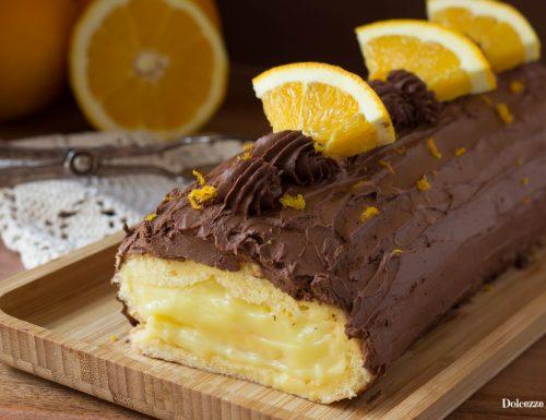 Rotolo all'arancia e cioccolato