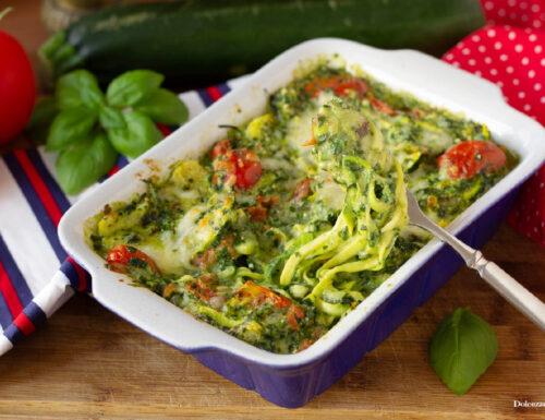Spaghetti di zucchine gratinati