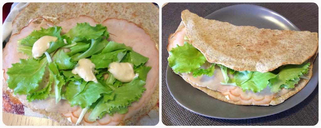 Piadina integrale con tacchino, salsa e insalata