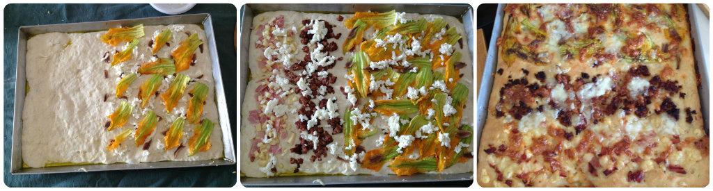 Focaccia con fiori di zucca, alici e mozzarella