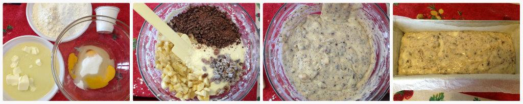 Plumcake allo yogurt con banane, uvetta e cioccolato