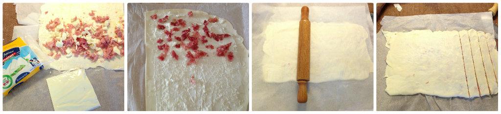 Grissini di pasta sfoglia al salame e stracchino