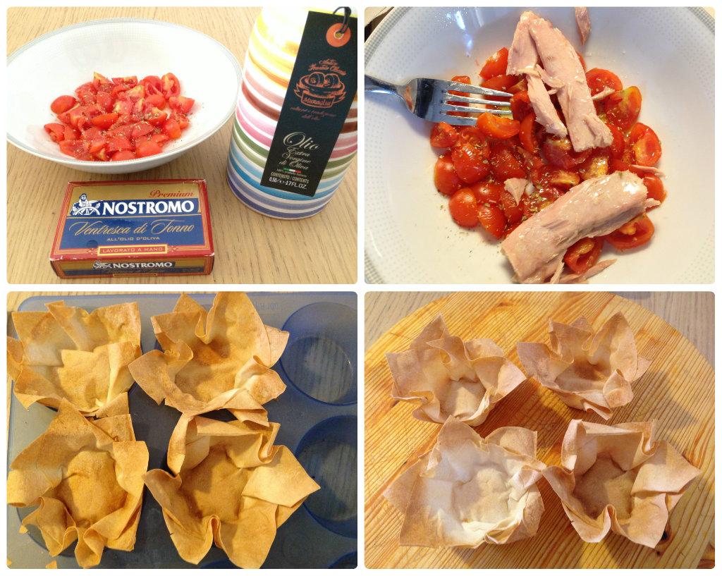 Cestini di fillo con stracchino, tonno e pomodori