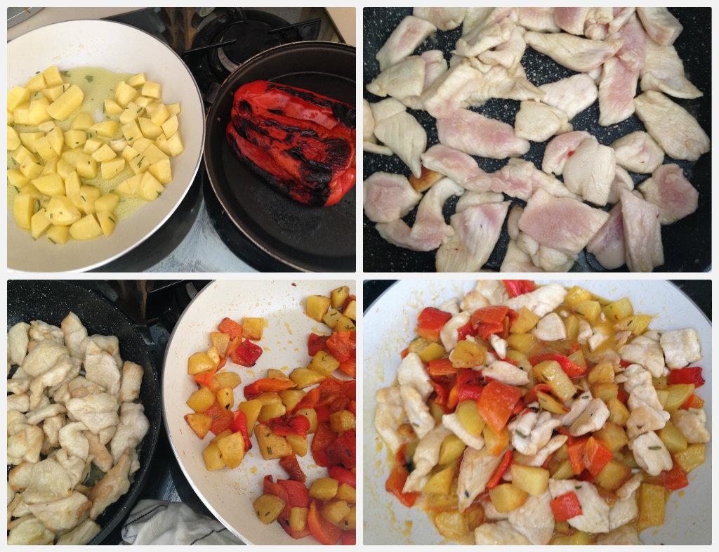 Pollo saltato con peperoni e patate