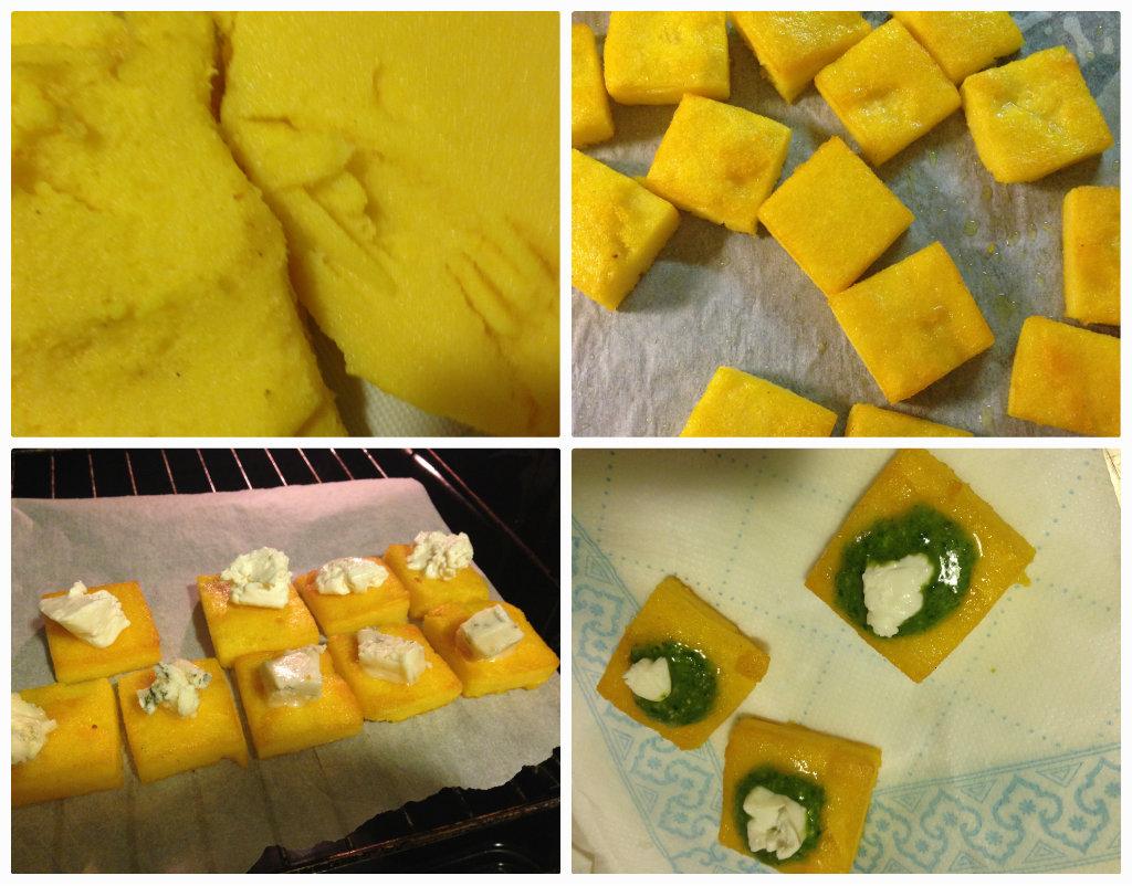 Crostini di polenta al forno con formaggi, pesto e pancetta