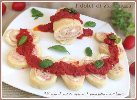 Rotolo di patate ripieno di prosciutto e sottilette
