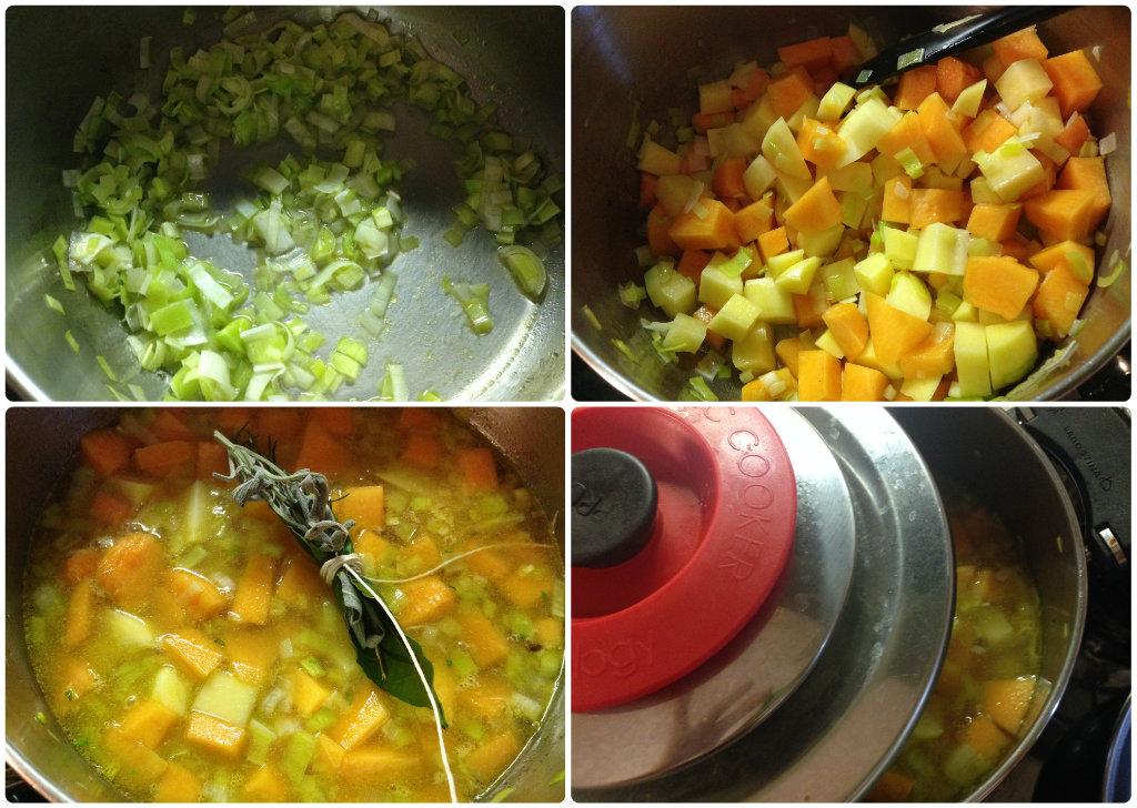 Vellutata di zucca, porri e patate con crostini aromatici e speck croccante