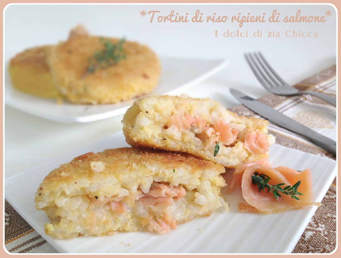 Tortini di riso ripieni di salmone