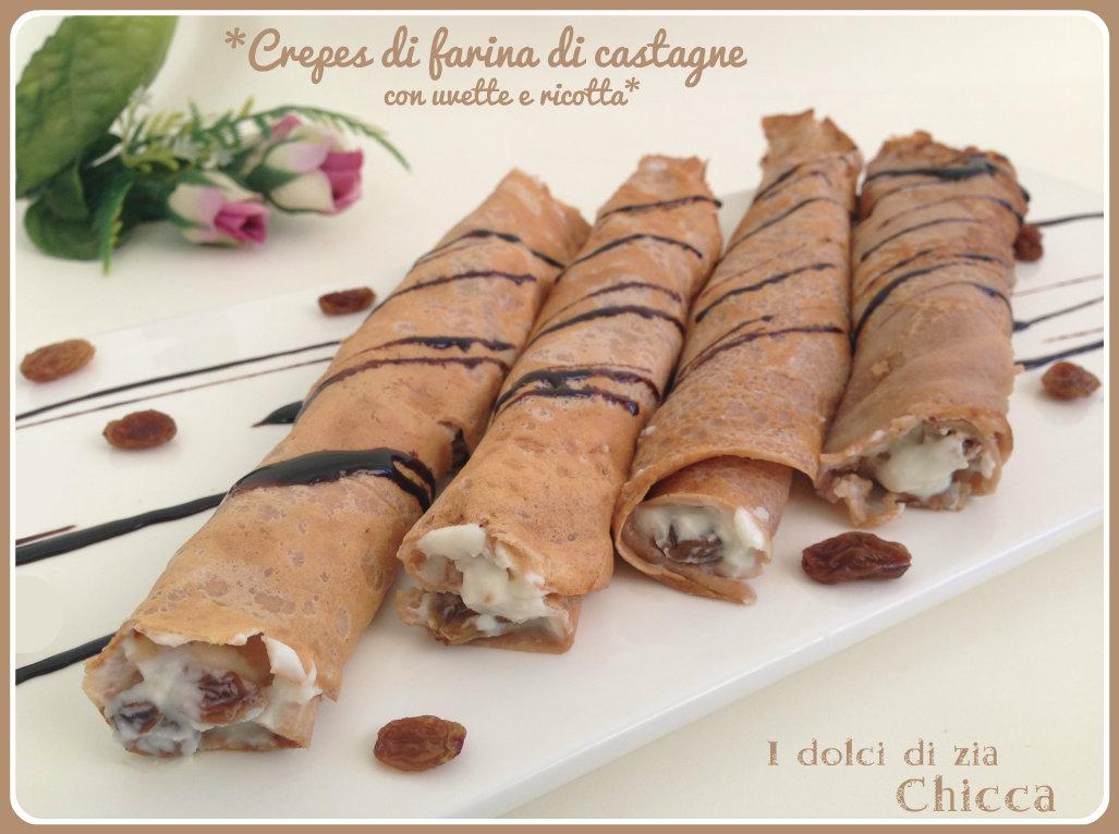 Crepes dolci con farina di castagne, ricotta e uvette