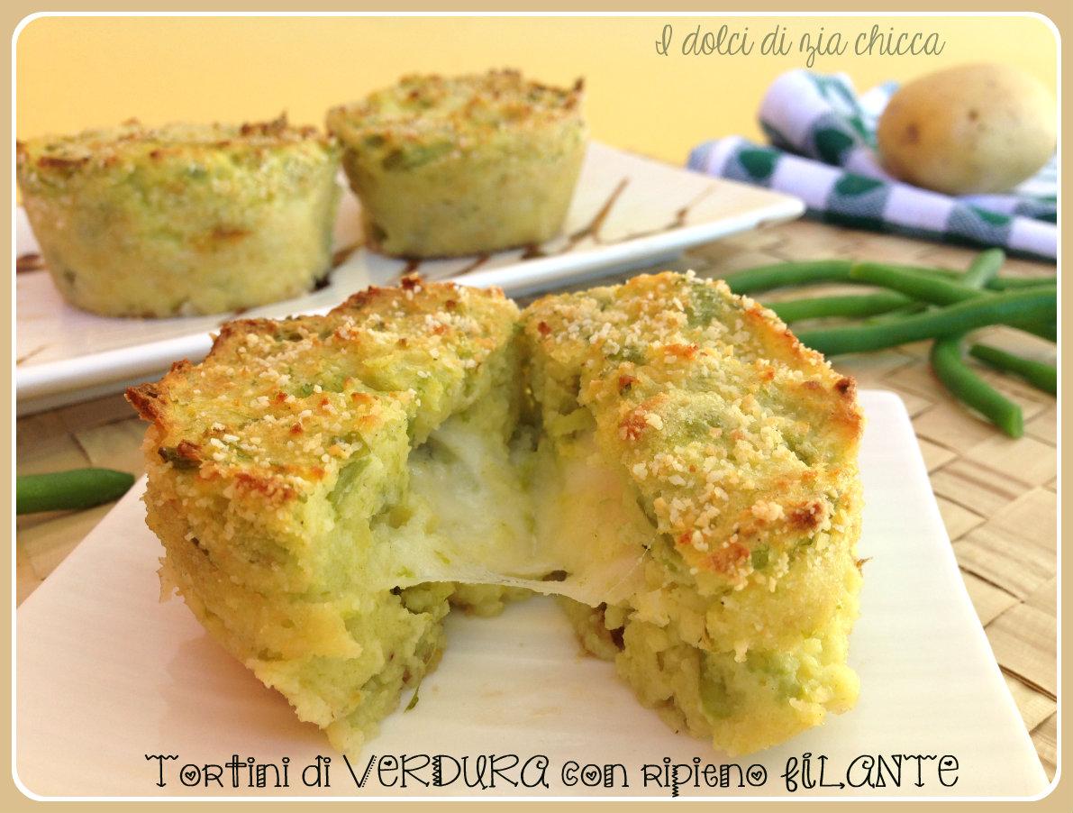 Tortini di verdura con ripieno filante