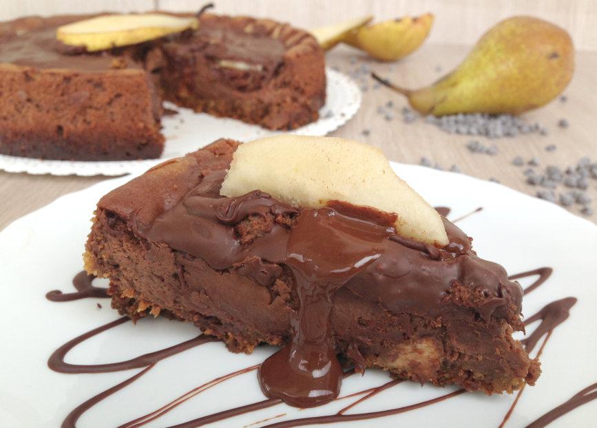 Cheesecake pere, cioccolato e Nutella
