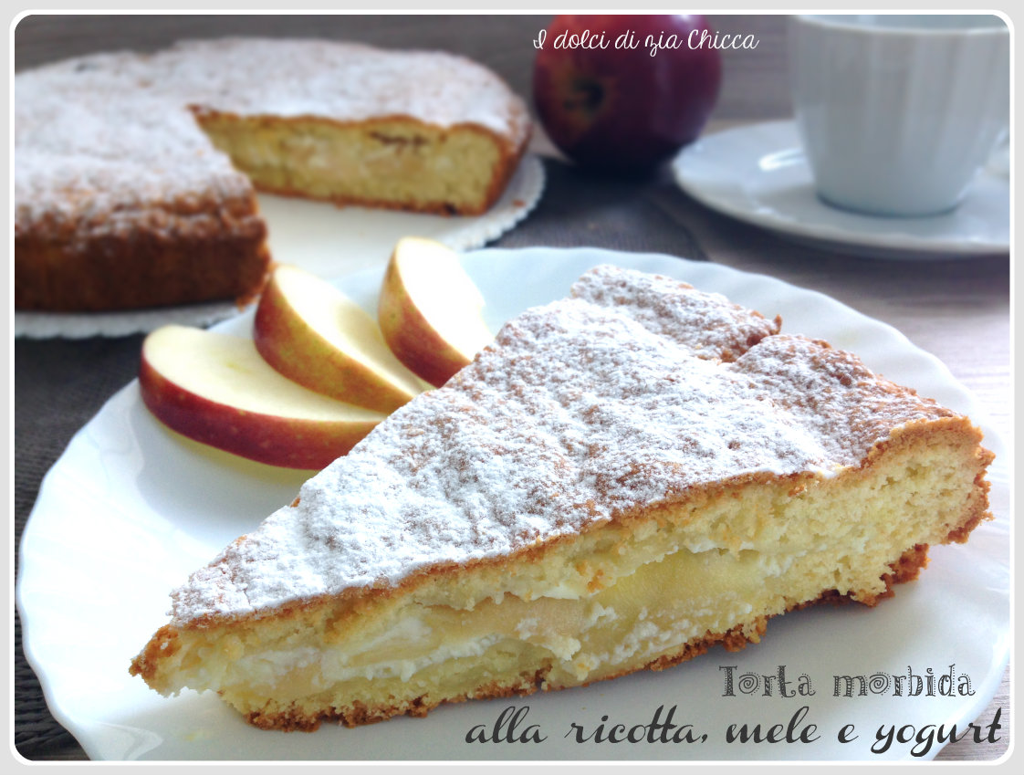 Torta morbida alla ricotta, mele e yogurt