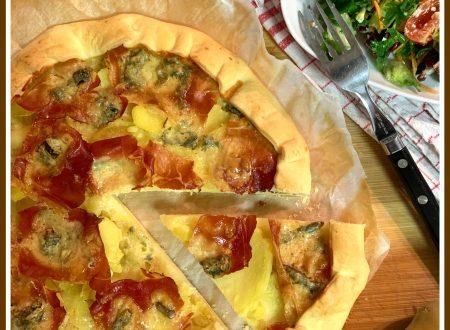 Torta brise` con patate, speck e gorgonzola