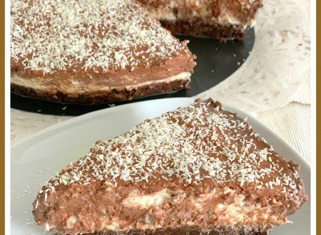 Cheesecake cocco e cioccolato senza cottura