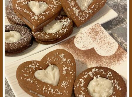 Occhi di bue al cacao e crema di cocco