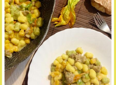 Gnocchetti con fiori di zucca,salsiccia e gorgonzola