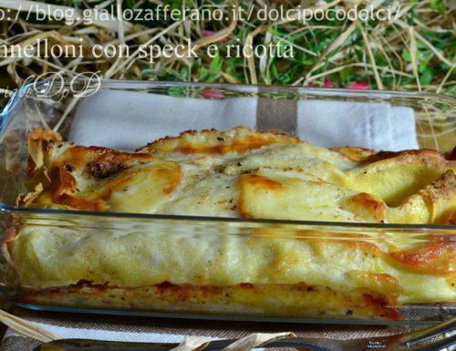 Cannelloni con speck e ricotta (su base di crepes all'acqua)