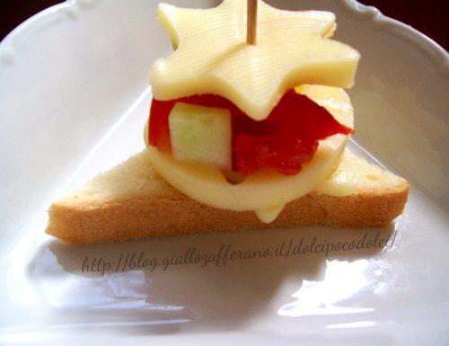 antipasto veloce con stelle di formaggio